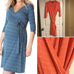 Seraphine Coral Nursing Maternity Wrap Dress